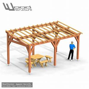 appentis 1 pan l 6 poteaux 6x3 wood structure charpente bois With faire un plan maison 6 appentis 1 pan l wood structure
