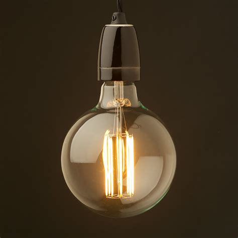 edison style light bulb and e27 black porcelain pendant