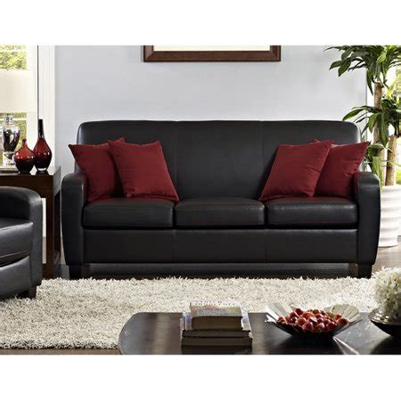 faux leather settee mainstays faux leather sofa black walmart