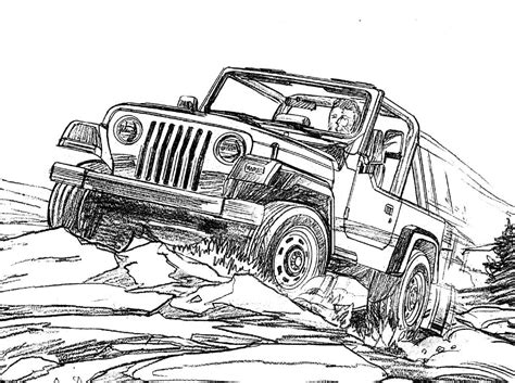 jeep off road silhouette jeep wrangler coloring page for the kids jeep