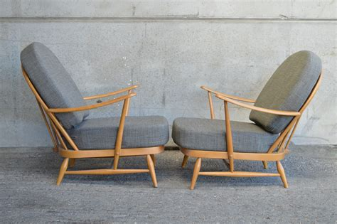 Pair Of Ercol Windsor 203 Armchairs In Soft Grey