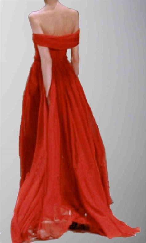 flowing floor length sexy  shoulder red formal dress