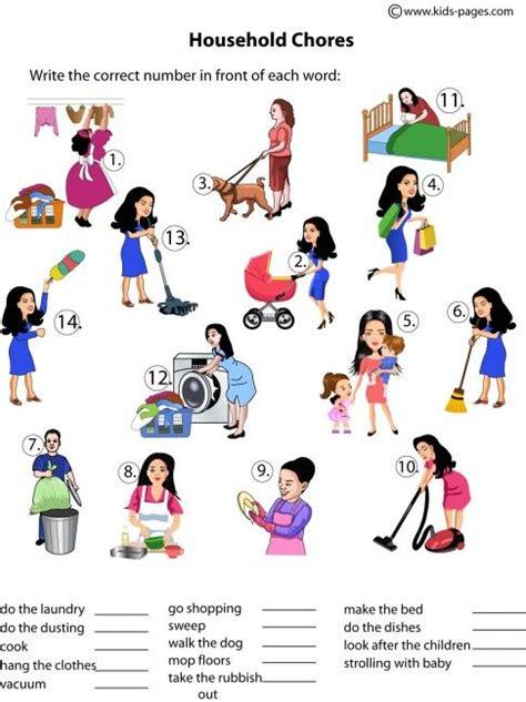 household chores worksheets  households  pinterest