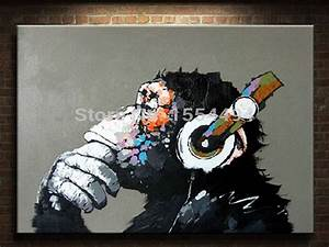 Framed hand painted large canvas oil painting cartoon