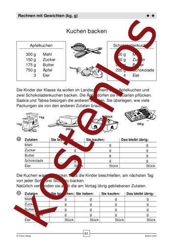 kostenloses arbeitsblatt kuchen backen rechnen mit