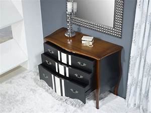 Commode Noir Et Bois : commode 3 tiroirs b rang re en merisier de style louis xv laqu noir et ivoire meuble en merisier ~ Teatrodelosmanantiales.com Idées de Décoration