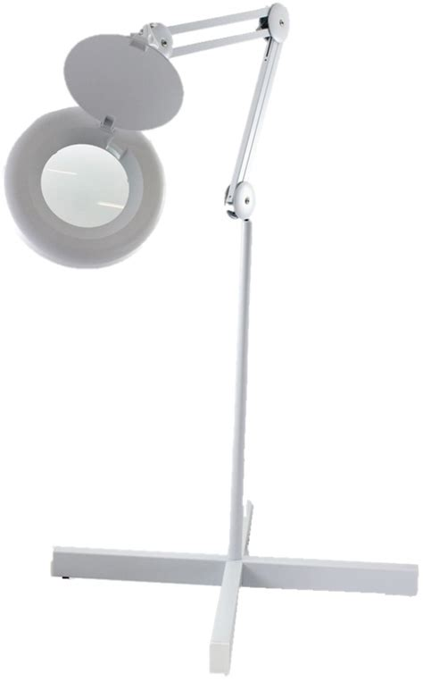 Lighted Magnifying L Stand by Large Lens Reach Articulated Floor Stand Led