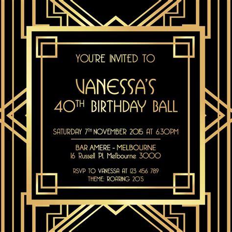 great gatsby digital printable invitation template black