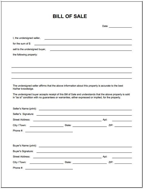 bill of sale form texas pdf free blank bill of sale form pdf template form download
