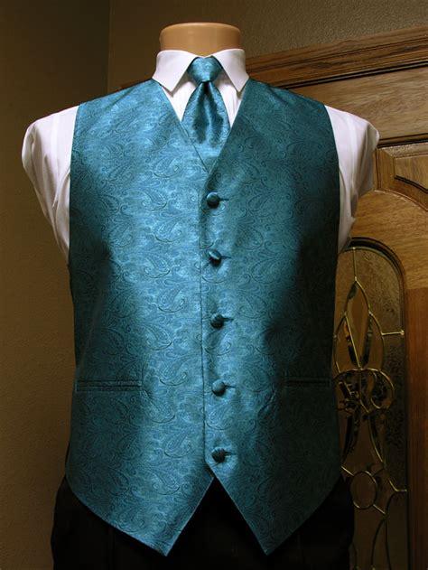 turquoise paisley vest mens satin vest  adjustable