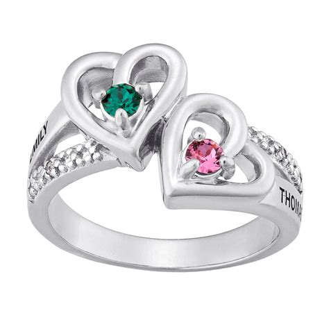silvertone couples birthstone hearts name ring with accent 38056 limoges jewelry