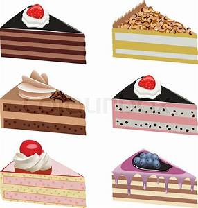 Vector cake slices with fruits and chocolate Stock