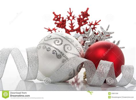red  silver xmas decoration royalty  stock