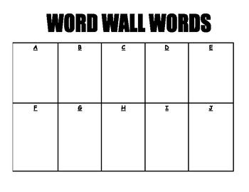 word wall template personal sight words word wall template graph freebie by the template