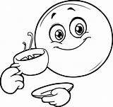Coffee Smiley Coloring Emoticon Sheets Printable Wecoloringpage Chinese Face sketch template