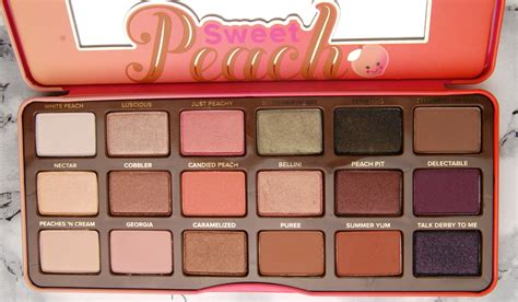 review  faced sweet peach eyeshadow palette swatch