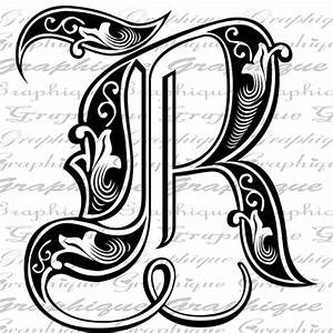 LETTER Initial R Monogram Old ENGRAVING Style Type Text ...