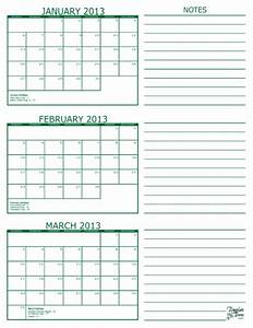 Free printable 3 month calendar in pdf format five colors for Calendar template 3 months per page