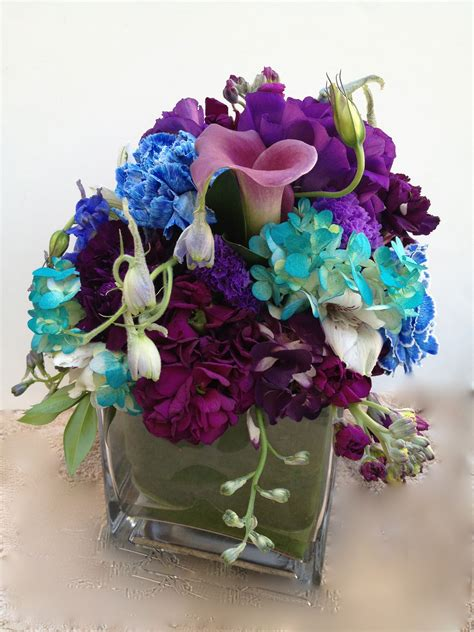 Wedding Centerpiece Purple Blue And Teal Blue Wedding