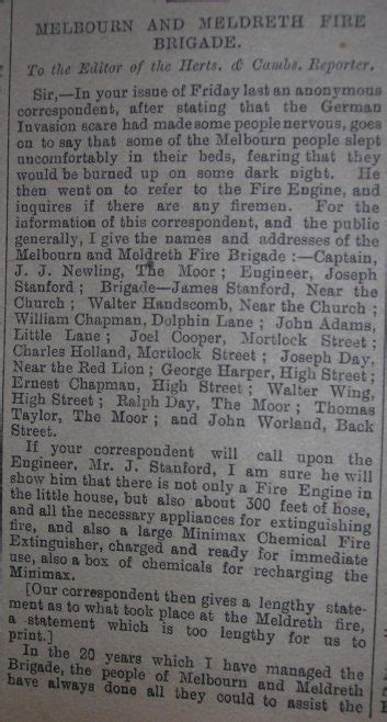 Newspaper Correspondence about the Melbourn and Meldreth ...