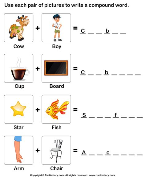 make a compound word worksheet 3 turtle diary