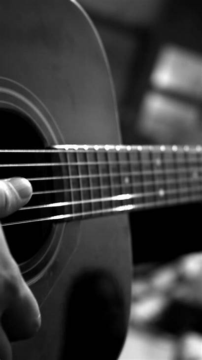 Guitar 4k Playing Acoustic Monochrome Guitars Wallpapers