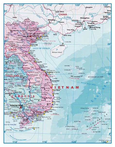 large detailed tourist map  vietnam  laos vietnam