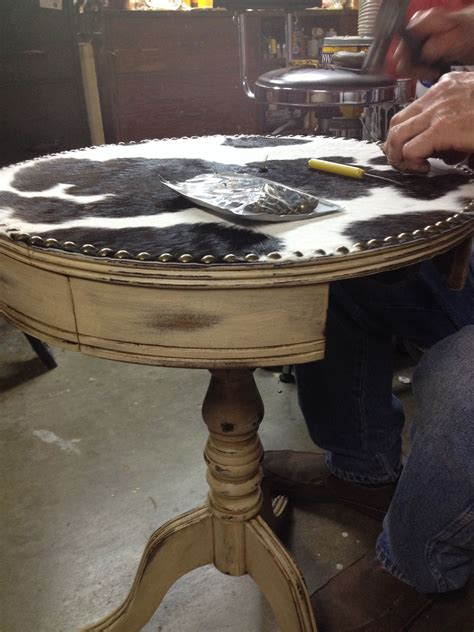 Cowhide Table by Our Most Recent Work In Progress Refinished Side Table