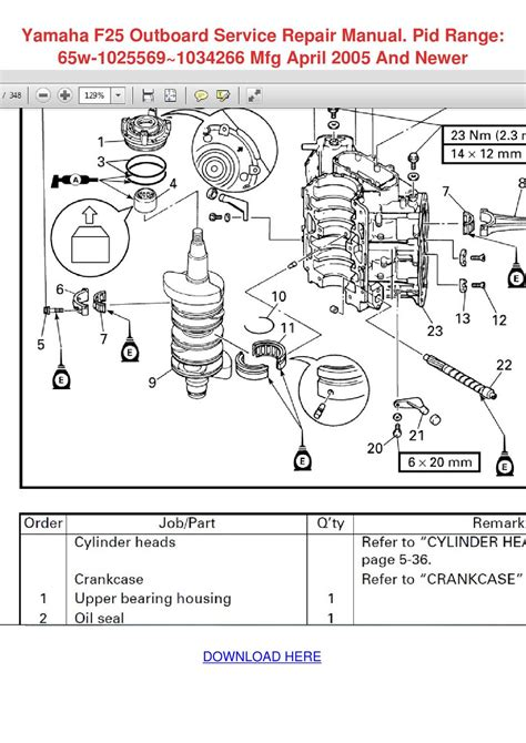 yamaha f25 outboard service repair manual pid by yung