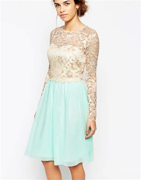 Lyst - Little Mistress Long Sleeve Lace Top Dress With Full Skirt in Blue