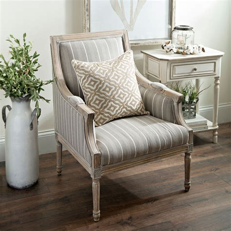 product details mckenna taupe stripe accent chair robyn