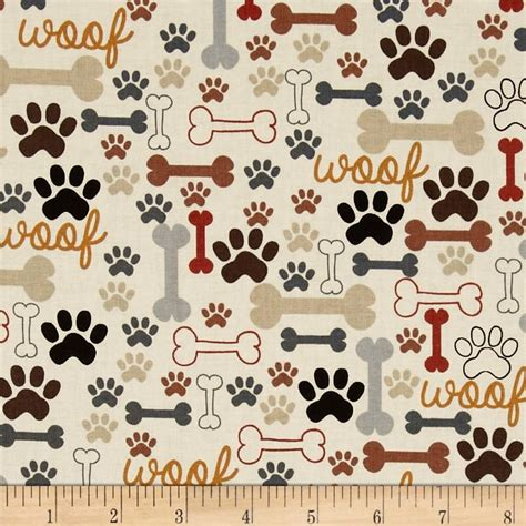 timeless treasures dog bones paw prints cream