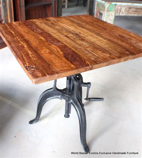 square crank table iron base industrial design wood