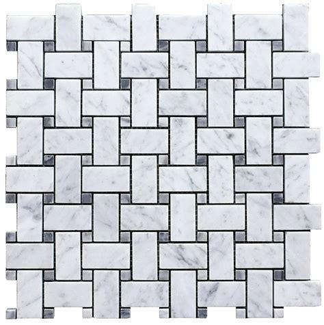carrara basketweave 11 75sf carrara bianco polished 1x2 basketweave bardiglio gray dot mosaic