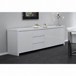 Meuble Bas Blanc Laqué : visuel buffet bas laque blanc pas cher ~ Edinachiropracticcenter.com Idées de Décoration
