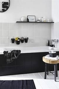 Carrelage Salle De Bain Noir Et Blanc : salle de bain noire et blanche salle de bain pinterest salles de bain noires salle de ~ Dallasstarsshop.com Idées de Décoration