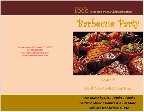 bbq party brochure template word templates