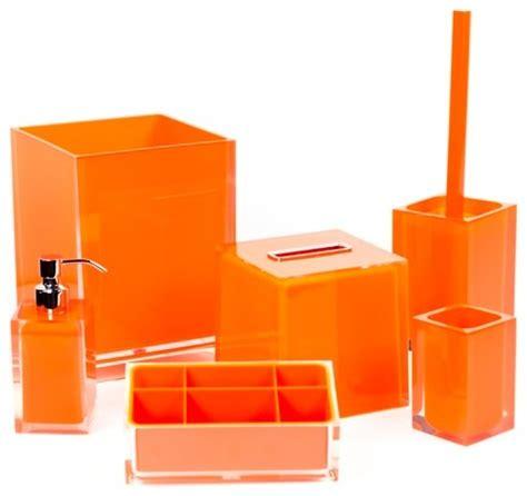orange bathroom accessory set in thermoplastic resin