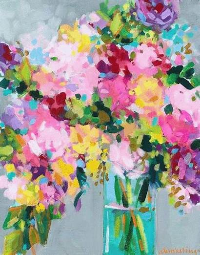 Painting Abstract Floral Flowers Flower Acrylic Vase