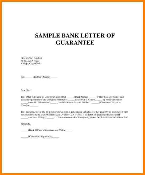 guarantee letter  payment sales slip template