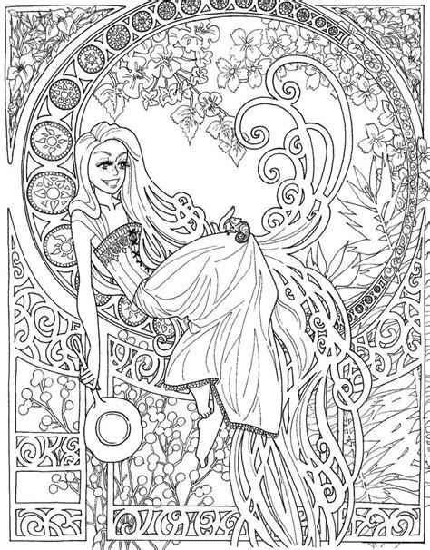Jugendstil Kleurplaat by Tangled Nouveau Free Coloring Page Coloring Pages