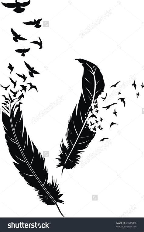 stylized feathers  scattering birds   form