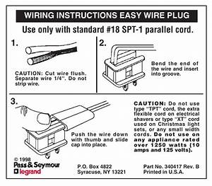Legrand Easy Wire Plug Instruction Sheet