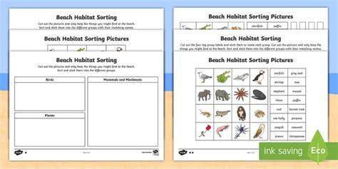 ks1 habitat sorting differentiated worksheet activity