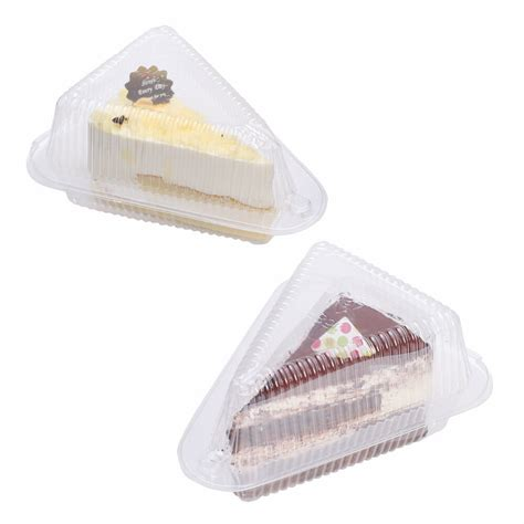small clear plastic boxes holders pie cake tart slice