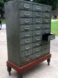 Wonderful Vintage 27 Drawer Metal Cabinet By Cole Steel On