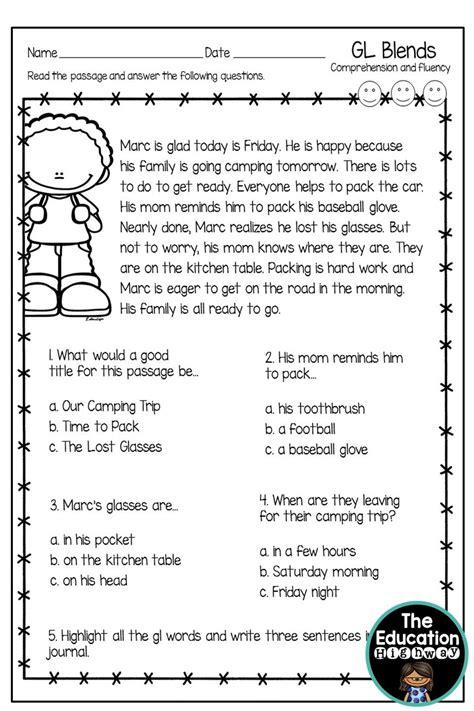 gl blends 2nd grade reading comprehension reading comprehension reading worksheets