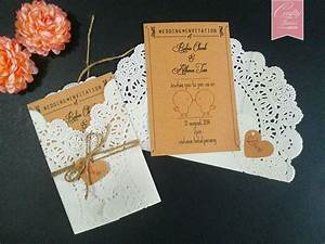 wedding card printing with doilies paper and brown string With diy wedding invitations brown paper