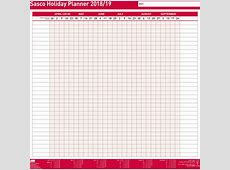 Sasco 201819 Unmounted Holiday Planner, 416 x 412 mm
