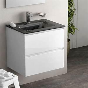 Meuble Salle De Bain Blanc : meuble 61 cm blanc brillant vasque verre 3 finitions cordoue ~ Dailycaller-alerts.com Idées de Décoration